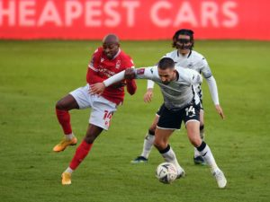 0 Nottingham Forests Fouad Bachirou and Swansea Citys Conor Hourihane
